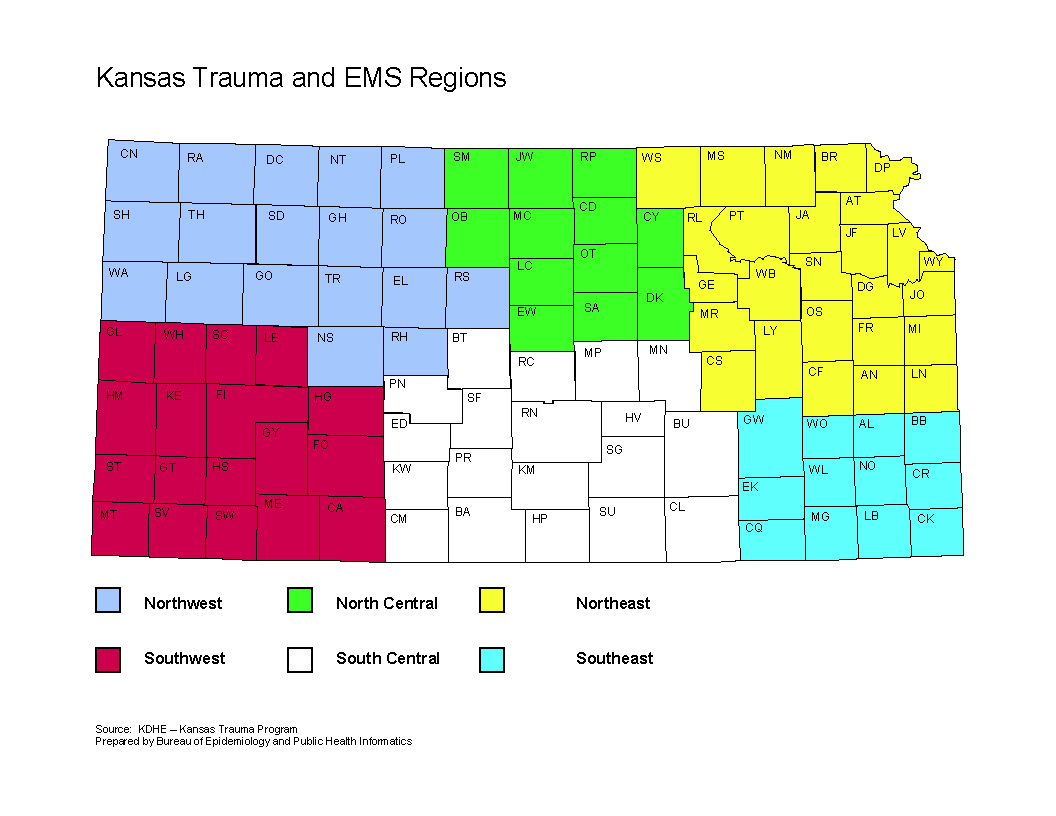 Trauma and EMS Regions Map